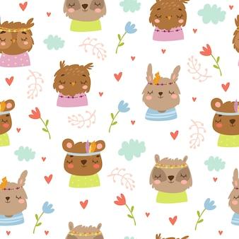 かわいい漫画の動物のボヘミアンスタイルのシームレスパターン
