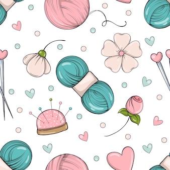 바느질과 바느질 항목과 낙서 스타일의 완벽 한 패턴입니다.