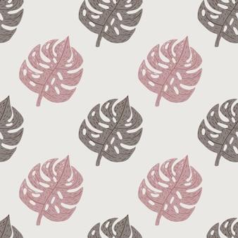 エキゾチックなヤシのモンステラの葉と淡い色調のシームレスなパターン