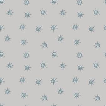 Бесшовный узор в пастельных тонах со случайным орнаментом колеса корабля. серый фон. морской стиль.