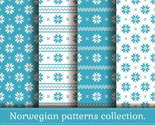 伝統的なノルウェースタイルのシームレスなパターン。水色と白の色のクリスマスと冬のパターンのセット。