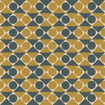 Бесшовный узор в трендовых цветах с абстрактными фигурами из квадратов и кругов