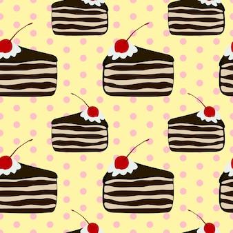 黄色のケーキのビンテージスタイルの美しい茶色の三角形のスライスのシームレスなパターン