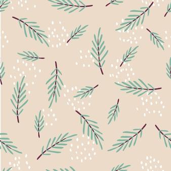 緑の葉の枝とハーブとビンテージスタイルの植物の背景のシームレスなパターン