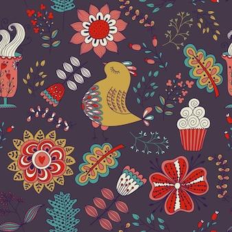 ヴィンテージスタイルのシームレスなパターン落書き花鳥の葉と草のレトロなデザイン