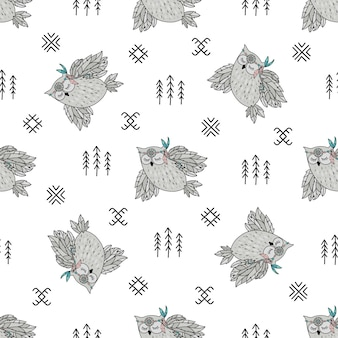 Seamless pattern. indian owl american native culture ethnic