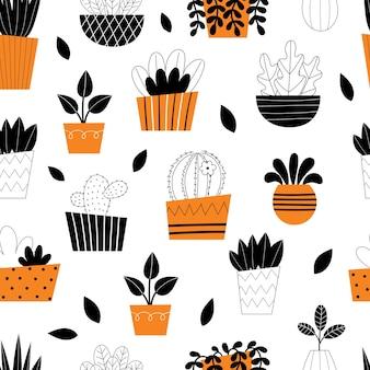Бесшовные модели комнатных растений. комнатные цветы. стилизованные домашние растения. домашний декор и интерьер. суккуленты, монстера, кактусы. иллюстрация, изолированные на белом фоне.