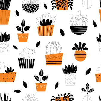 Seamless pattern indoor room plants. potted flowers. stylized home plants. home decor and interior. succulents, monstera, cacti. illustration isolated on white background.