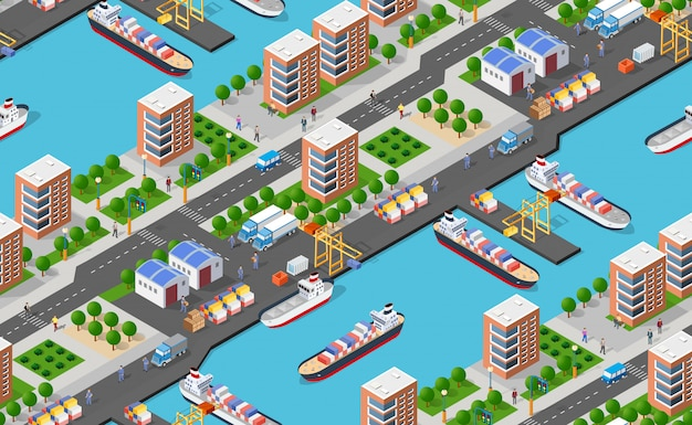 Seamless pattern industrial city