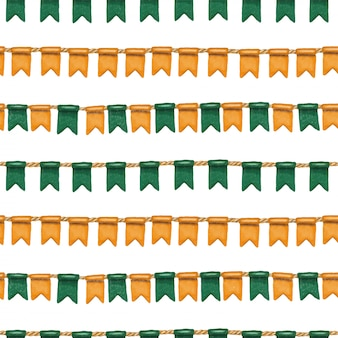 Seamless pattern of irish colors flags to st.patrick's day celebration
