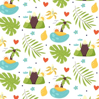 Бесшовный узор остров горы тропические листья банан лимон