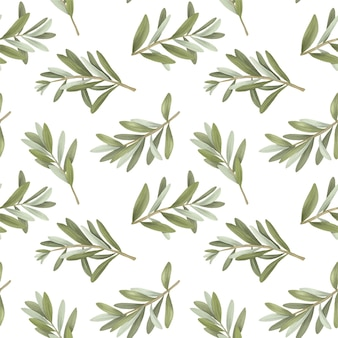 Seamless pattern of isolated green olive tree branches