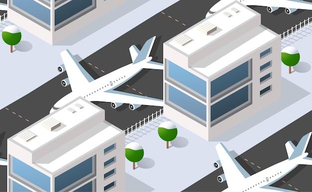 Бесшовные модели изометрические городской аэропорт с транспортными самолетами и взлетно-посадочной полосы