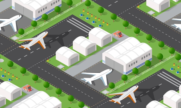 Seamless pattern isometric city airport with transport aircraft and the runway