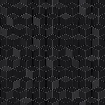Seamless pattern of isometric cubes in black colors