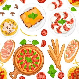 シームレスパターン。イタリア料理。ピザ、スパゲッティ、リゾット、ブルスケッタ、グリッシーニ。皿と木の板の上の古典的なイタリア料理。