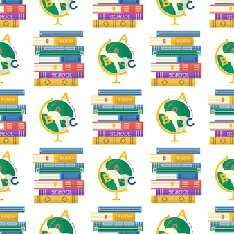Seamless pattern ith books and globe for back to school poster. vector template for banner, promo, invitation, ad