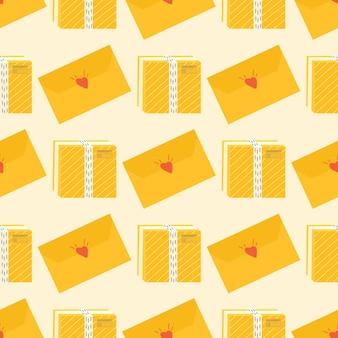 カートンパッケージと配達アイコン用の粘着テープのシームレスなパターン。郵便小包、パック、箱、手紙、封筒のセット。オンライン配達サービスの概念のための小包。ベクター