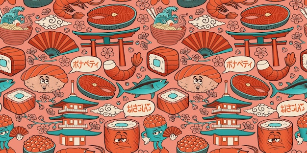 Seamless pattern for a japanese food theme in cartoon style