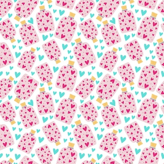 Seamless pattern jars with cork full of pink hearts. print for wrapping paper, wallpaper, covers. vector illustration, endless background.