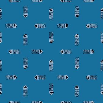 파란색 배경에 원활한 패턴 해파리입니다. 바다 동물과 미니멀한 장식입니다. 직물에 대한 기하학적 템플릿입니다. 디자인 벡터 일러스트 레이 션.