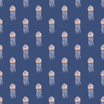 보라색 바탕에 원활한 패턴 해파리입니다. 바다 동물과 미니멀한 장식입니다. 직물에 대한 기하학적 템플릿입니다. 디자인 벡터 일러스트 레이 션.