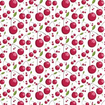 Seamless pattern of juicy cherries
