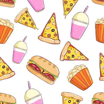 Seamless pattern of junk food with colorful doodle style