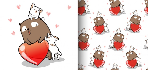 Seamless pattern kawaii bear and cats with heart