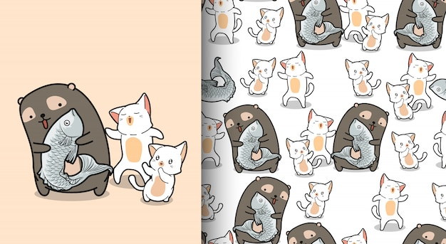 Seamless pattern kawaii bear is catching fish with cute cats
