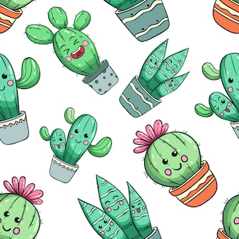 Seamless pattern of kawaii cactus with cute face