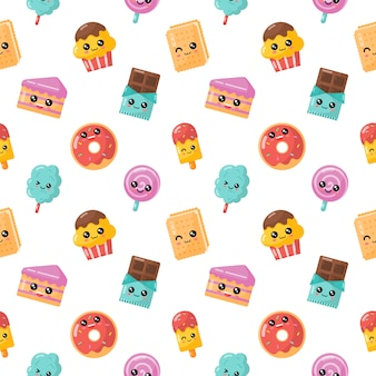 Seamless pattern kawaii cartoon dessert. sweet candy isolated