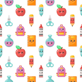 Seamless pattern kawaii cartoon school supplies. back to school isolated