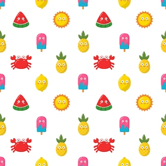 Seamless pattern kawaii cartoon summer character collection on white background.