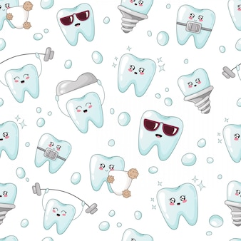 Seamless pattern - kawaii cartoon tooth, implant, crown