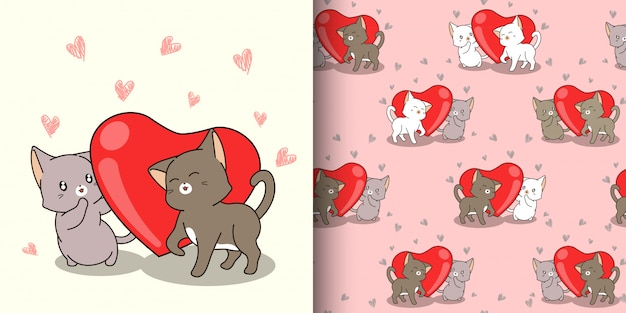 Seamless pattern kawaii cat characters and red heart