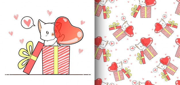 Seamless pattern kawaii cat inside a box which is carrying big heart
