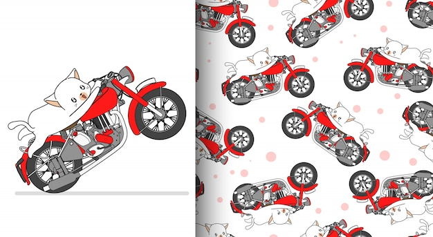 Seamless pattern kawaii cat is riding red motorcycle speedy