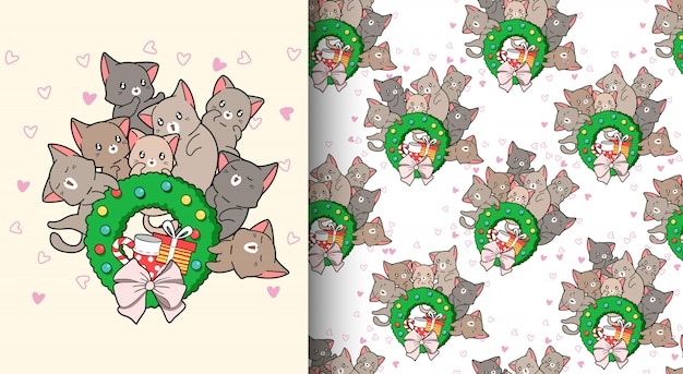 Seamless pattern kawaii cats are loving christmas day