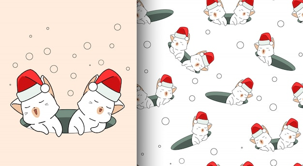 Seamless pattern kawaii cats in the hole