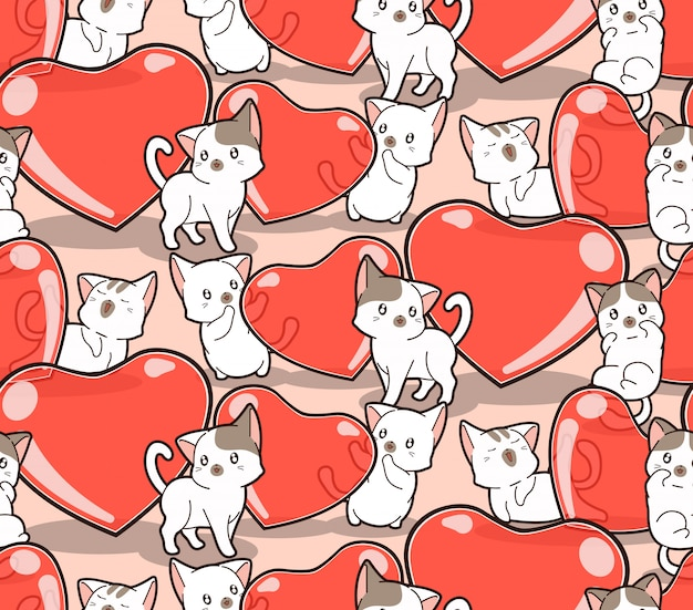 Seamless pattern kawaii cats and jelly hearts for valentines day