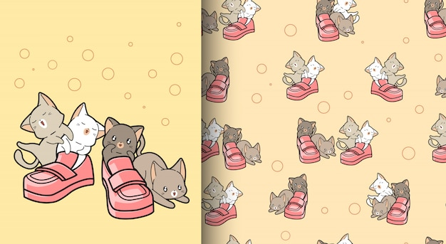 Seamless pattern kawaii cats with shoes