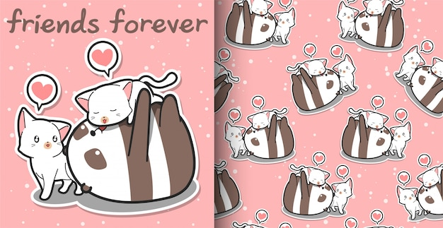 Seamless pattern kawaii panda and cat cartoon characters on pink