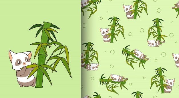 Seamless pattern kawaii panda cat character with bamboo