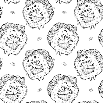 Seamless pattern of kawaii rolls and sushi in manga style, sprinkled with sesame seeds