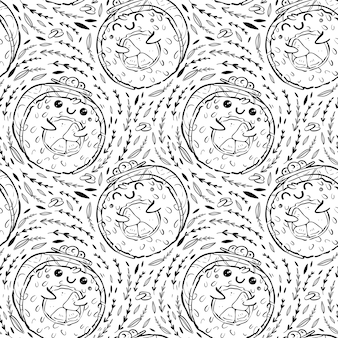 Seamless pattern of kawaii rolls and sushi in manga style. tasty and cute japanese food