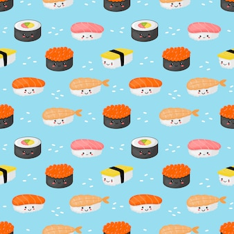 Seamless pattern kawaii sushi and sashimi on blue