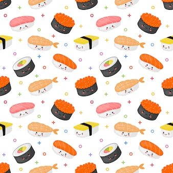 Seamless pattern kawaii sushi and sashimi