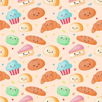 Seamless pattern kawaii sweet and dessert on cream