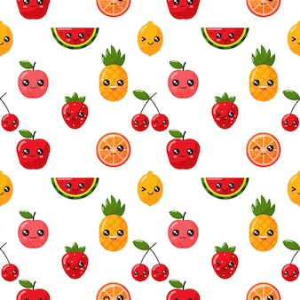 Seamless pattern kawaii tropical fruit isolated on white background.